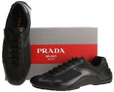 NEW PRADA BLACK LEATHER NAVY NYLON MOCCASINS LOW TOP SNEAKERS SHOES 7.5/US 8.5