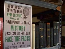 1939 Judge Rutherford Face the Facts Victory POSTER Watchtower Jehovah IBSA