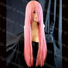 Cosplay Long Layered Straight Milk Pink Ladies Wigs Skin Top Hair from WIWIGS UK