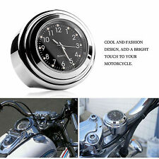 Waterproof Motorcycle Clock Chrome Handle Bar Mount Mini Watch Black 22/25mm