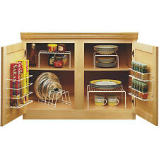 Kitchen Cabinet Organizer Set Cupboard Space Saver Kit Spice Rack Dish Storage