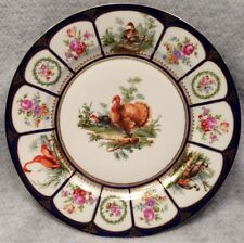 Turkey, duck, flamingo, & phesant decorated plate/charger by Edme Samson France