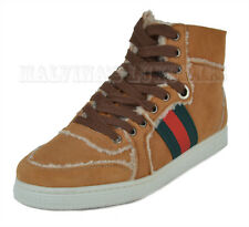 GUCCI SNEAKERS SHEARLING HIGH TOP SIGNATURE WEB STRIPE TAN LEATHER 37.5G 8