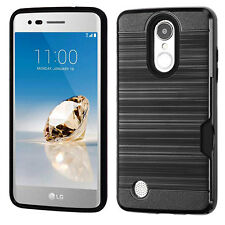 Brushed Case w/ID Slot Shockproof Cover for LG Aristo LV3 MS210 [K8 2017]