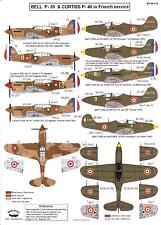 Berna Decals 1/48 BELL P-39 AIRACOBRA & CURTISS P-40 WARHAWK in French Service