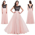 Pink Long Chiffon Lace Bridesmaid Cocktail Evening Gowns Prom Party Formal Dress
