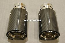 2X 93MM CARBON FIBER 304 STAINLESS EXHAUST TIP E70 E71 F15 F16 FOR X5 X6