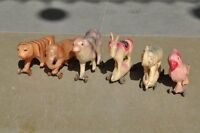 6 Pc Vintage Penny Different Animal Celluloid Toy Figurine On Wheel , Japan