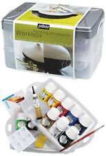CERAMIC PAINT WORKBOX BOTTLES SOLVENT BASED PAINTING SET POTTERY METAL PEBEO