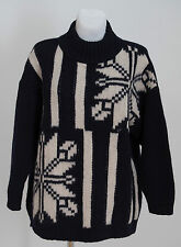 WOMENS SPORTMAX ITALY JUMPER SWEATER 100 % WOOL NORDIC NAVY SIZE L LARGE