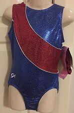 NWT GK Elite leotard CL gymnastics leo child large + scrunchie **NEW** red/blue