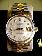 ROLEX OYSTER MEN PERPETUAL DATEJUST MOTHER OF PEARL DIAMOND DIALGOLD STAINLESS