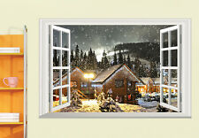 Xmas Village Snow Night View Wall Sticker 3D Window Mural Vinyl Decal Room Decor