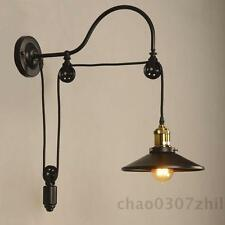 Industrial Wall Mounted Gooseneck Lamp E27 Light Fixture Pulley Reflector Sconce