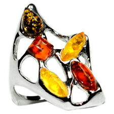 3.9g Authentic Baltic Amber 925 Sterling Silver Ring Jewelry s.7 A7339S7