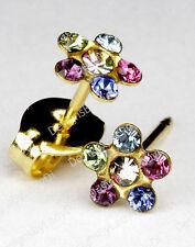 Studex Sensitive Rainbow Crystal 5.5mm Daisy Clear Center Gold Stud Earrings