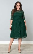 Kiyonna Plus Size 1X 14 16 Green Dress Scalloped Luna Lace Style Party Cocktail