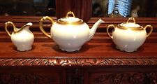 c1904-24 Schwarzburg Germany Tea Set Teapot Creamer Sugar White & Gold