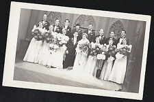Antique Vintage Photograph Bride & Groom With Wedding Party - Beautiful Flowers