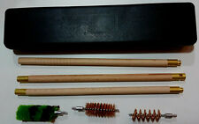 6pc SHOTGUN BARREL WOODEN CLEANING KIT & BOX 12 GAUGE 12G BORE GUN KIT BRUSHES