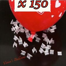 150 X BALLOON CLIP TIES ,FOR HELIUM GAS & AIR BALLOONS,QUICK SEALING, REUSABLE