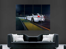 NISSAN R34 WHITE CAR POSTER SKYLINE SUNSET FAST CARS SPEED RETRO WALL RACING