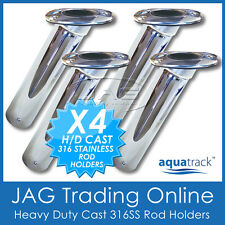 4 x HEAVY DUTY CAST 316 MARINE GRADE STAINLESS STEEL ROD HOLDERS - Fishing/Boat