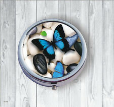 BUTTERFLY BLUE WINGS ON WHITE PEBBLES PILL BOX ROUND METAL -fnq6Z
