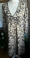 NOUGAT LONDON animal print light crinkle effect dress size 14 with deffects