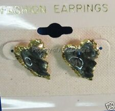 Gold Plated Green Pearl Leaf Leave Post Earrings 5016