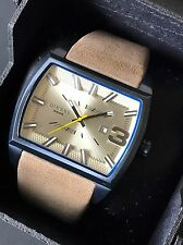 Diesel Men Watch DZ1703 Starship Washed Brown Leather Rectangular Gold Dial NWT