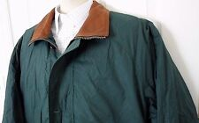 Mens GANT Leather Collar Field Jacket w/ Down Filled Quilted Liner Green Size L