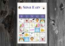 Spa Day Diva Birthday / Bridal Party Game Printable Bingo Cards