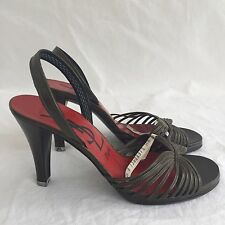 VINTAGE YVES SAINT LAURENT YSL Green Strappy Heels Pumps Shoes 6.5 EUR 37 France