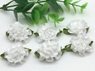 New 12pcs 25mm Carnations Satin Ribbon Flower For DIY Decoration Applique White