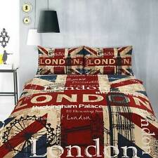 Retro London UK British Flag Big Ben Teen SINGLE Size Quilt Doona Cover Set