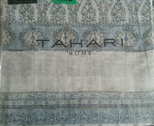 New Tahari 3 pc King Duvet Cover Set Damask Medallion Paisley Gray Cream Blue