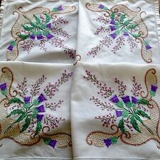 Vintage Hand Embroidered Linen Scottish Thistle & Heather Tablecloth 32x33 Inch