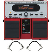 Boss VE-20 Vocal Performer Vocal Processor Twin Pedal Stompbox + Patch Cables