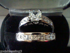 PLATINUM & SS PRINCESS LCS DIAMOND ENGAGEMENT WEDDING RING SET + GIFT SZ 6
