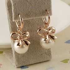 18K Rose Gold Plated White Shell Pearl Bowknot  Earring
