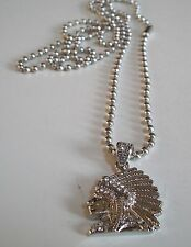 INDIAN CHIEF Warrio Silver Finish CZ Bling Pendant with complementary 30'' Chain