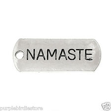 """Silver """"Namaste"""" Word Tag Charms 21mm 10 Pieces,Yoga, Greeting"""