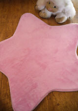 Children's Girls Bedroom Nursery Rug Pink Star Shaped Padded Soft Touch 70cm
