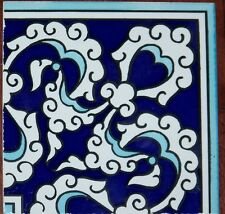 "Blue, Navy & White 4""x4"" (10cmx10cm) Ottoman Iznik Ceramic Tile Border Corner"
