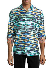 Robert Graham Hooligans Classic Fit Striped Sport Shirt - Size LARGE - NWT $248