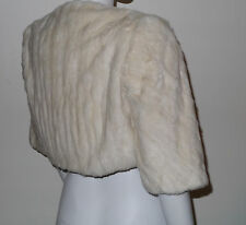 genuine winter white cream ermine stoat mink real fur wedding bolero jacket