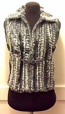 NEW NWOT $118 ANTHROPOLOGIE GRAY & WHITE FAUX FUR VEST SWEATER SMALL-MEDIUM