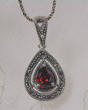 925 Sterling Silver Marcasite Red Cubic Zirconia Pendant Necklace Jewelry NEW
