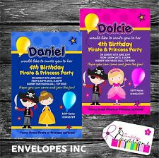 Personalised Birthday Invitations Pirate and Princess Party x 5